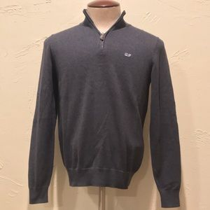 Vineyard Vines 1/4 Zip Sweater Blue Gray Mens XS